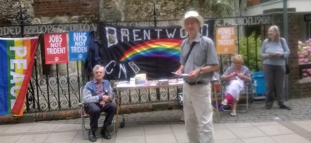 CND stall in Brentwood High Street, 28th June 2014